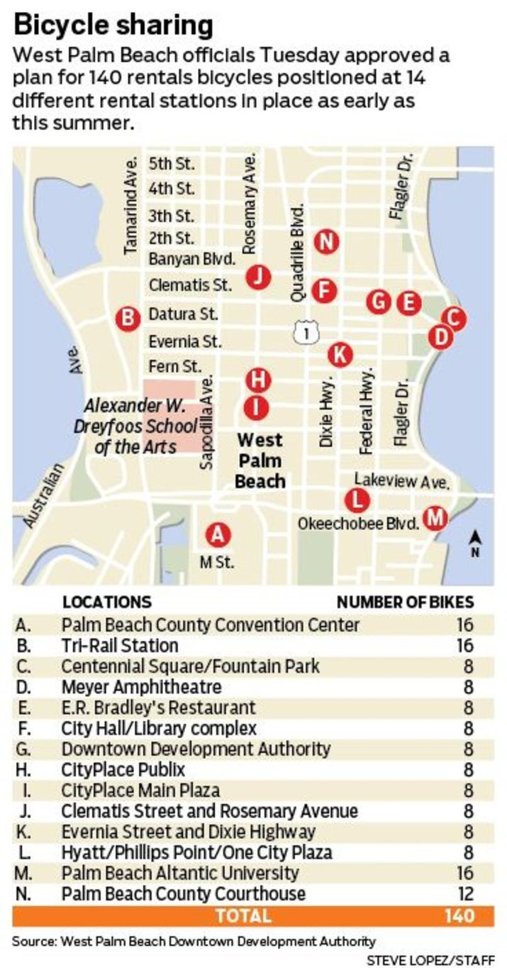 Map of bike share stations