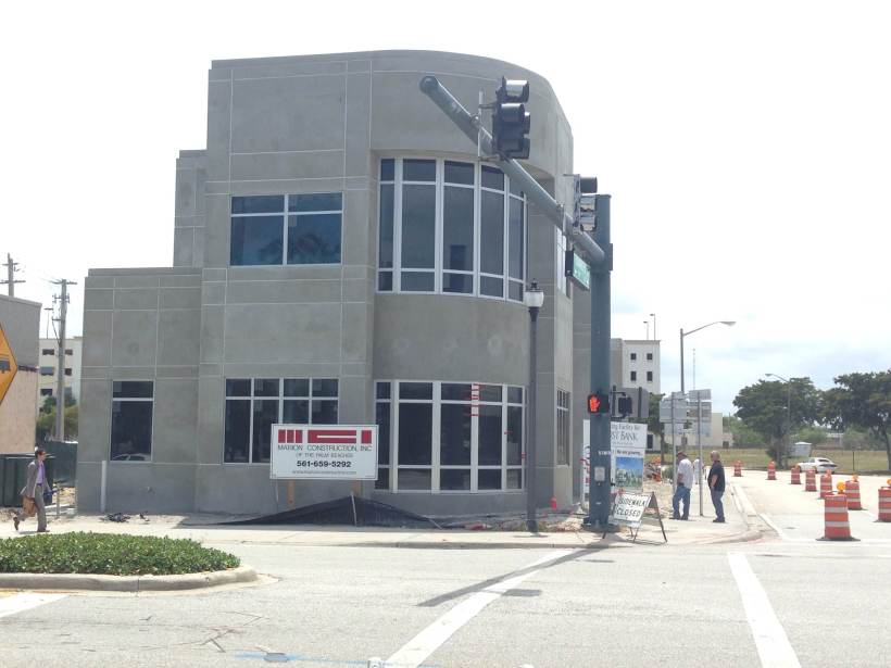 First Bank of the Palm Beaches near completion on Quadrille and Dixie