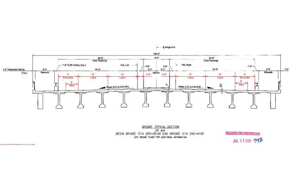Proposed Flagler Bridge Cross Section (Dimensions in red added by walkablewpb)