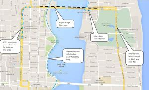 Proposed Flagler Bridge bike map and potential connecting routes