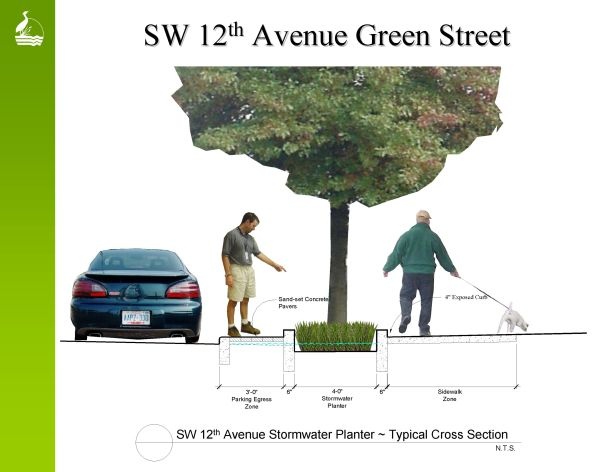 SW 12th St. bioswale section - image courtesy of Sustainable Stormwater Management Program