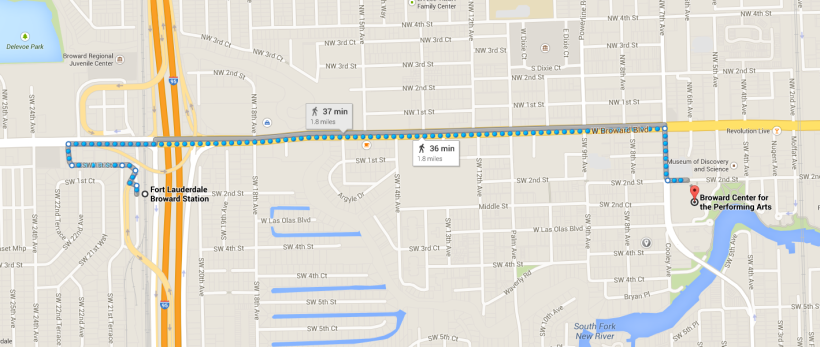 The journey from the Broward Tri Rail station to the final destination