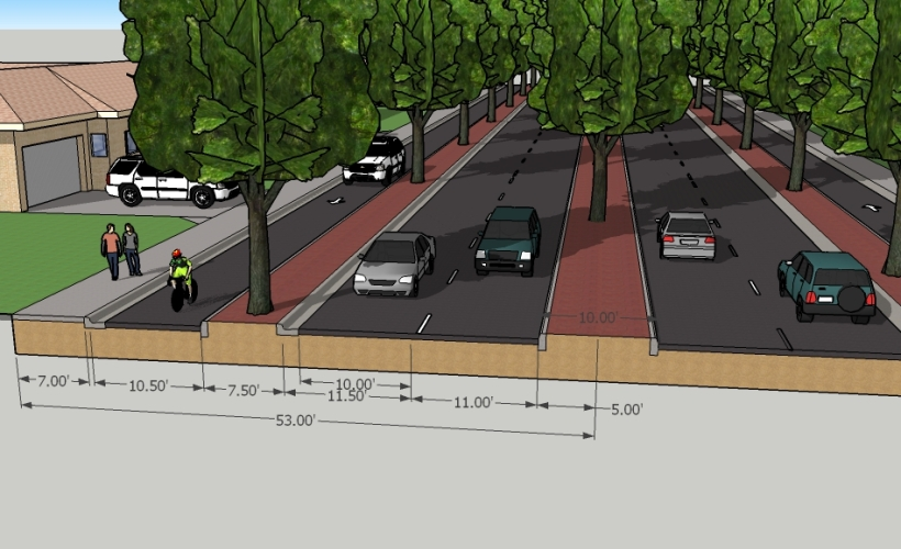 Australian Avenue - Proposed Multiway Boulevard section with dimenions