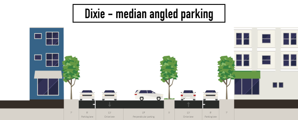 Dixie Hwy. with center angled and outside parallel parking