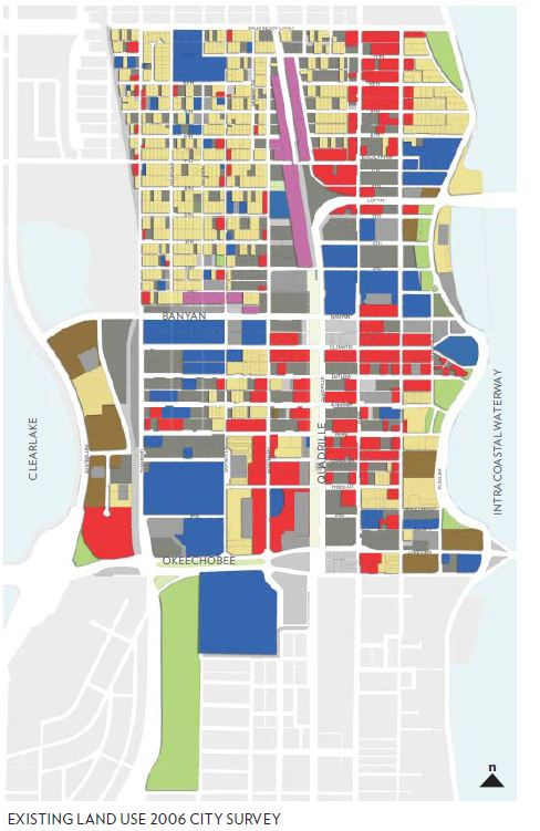 Dark and light grey represent redevelopable land -- parking lots and vacant land